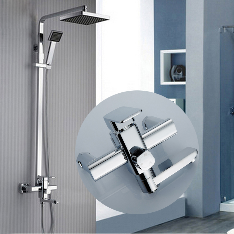 "Wholesale and Retail Bathroom Shower Hot Cold Faucet with 8"" ABS Shower Head & Handshower"