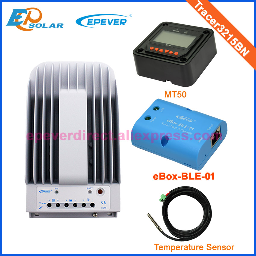 With MT50 remote meter wifi function and temperature sensor Tracer3215BN MPPT Solar battery charger 30A