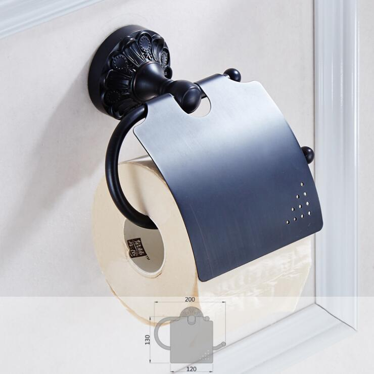 High Quality Luxury Black Oil Brushed Paper roll Holder Brass Toilet Paper Holder Antique Tissue Box Holder