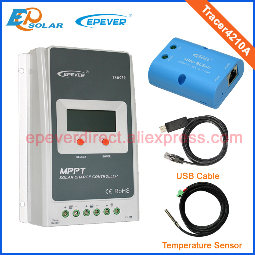 Tracer4210A MPPT solar controller 40A LCD screen display With BLE USB and sensor