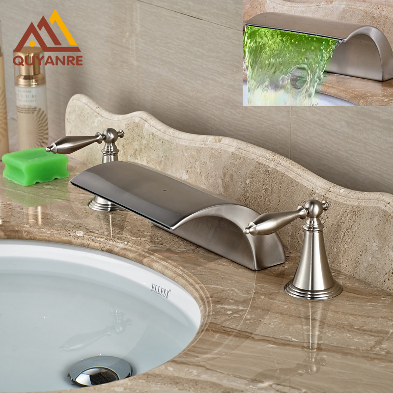 Led Color Changing Brushed Nickle Basin Faucet Hot and Cold Water Faucet Waterfall Spout Dual Handle Tap