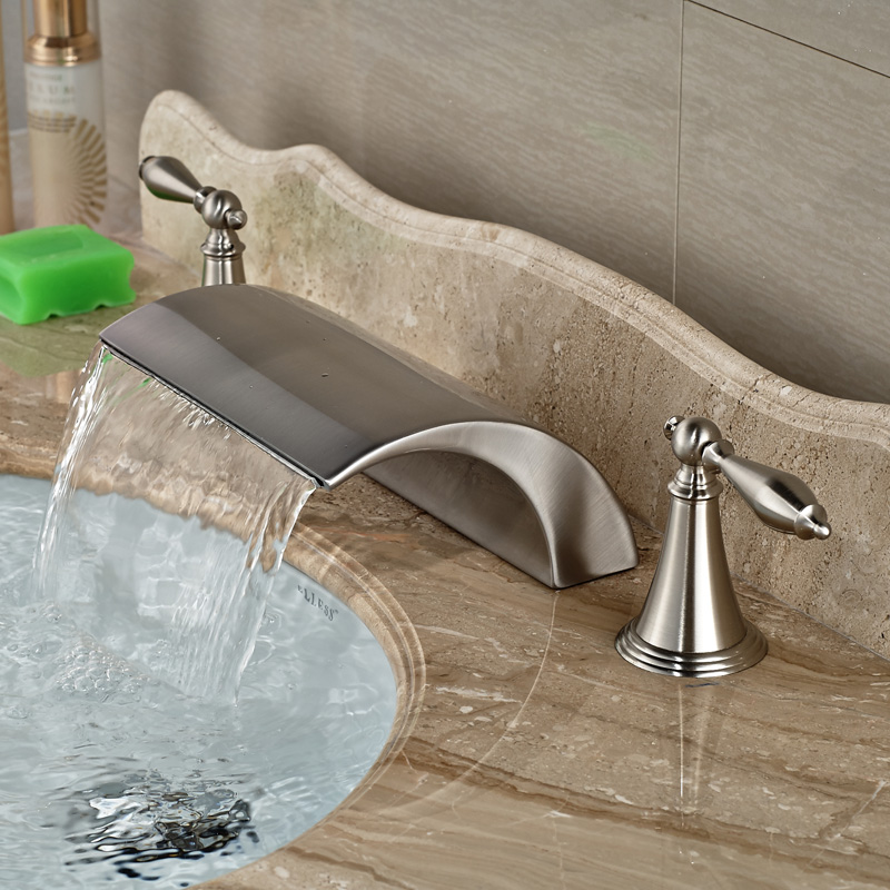 Modern-Brass-Deck-Mounted-Dual-Handles-Bathroom-Basin-Mixer-Faucet-Tap-Brushed-Nickel-Waterfall-Spout (3)