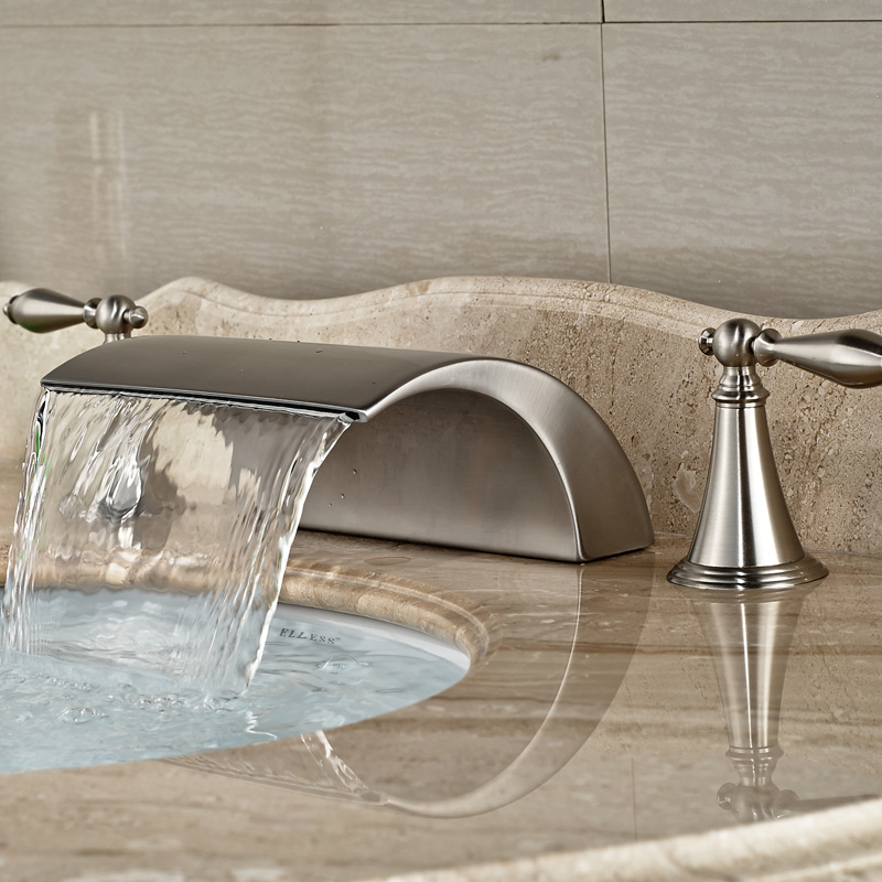 Modern-Brass-Deck-Mounted-Dual-Handles-Bathroom-Basin-Mixer-Faucet-Tap-Brushed-Nickel-Waterfall-Spout (2)