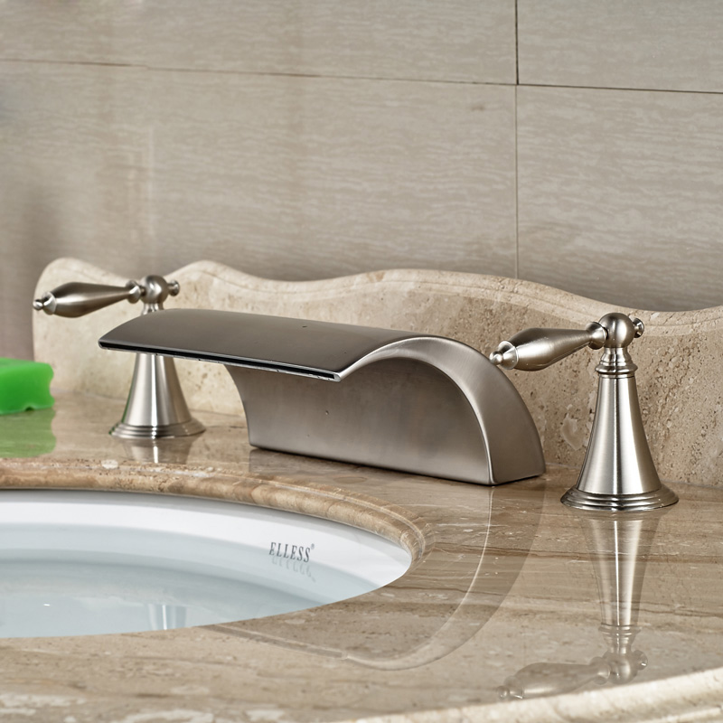 Modern-Brass-Deck-Mounted-Dual-Handles-Bathroom-Basin-Mixer-Faucet-Tap-Brushed-Nickel-Waterfall-Spout