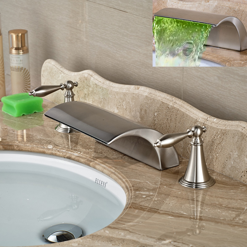 Modern-Brass-Deck-Mounted-Dual-Handles-Bathroom-Basin-Mixer-Faucet-Tap-Brushed-Nickel-Waterfall-Spout (1)