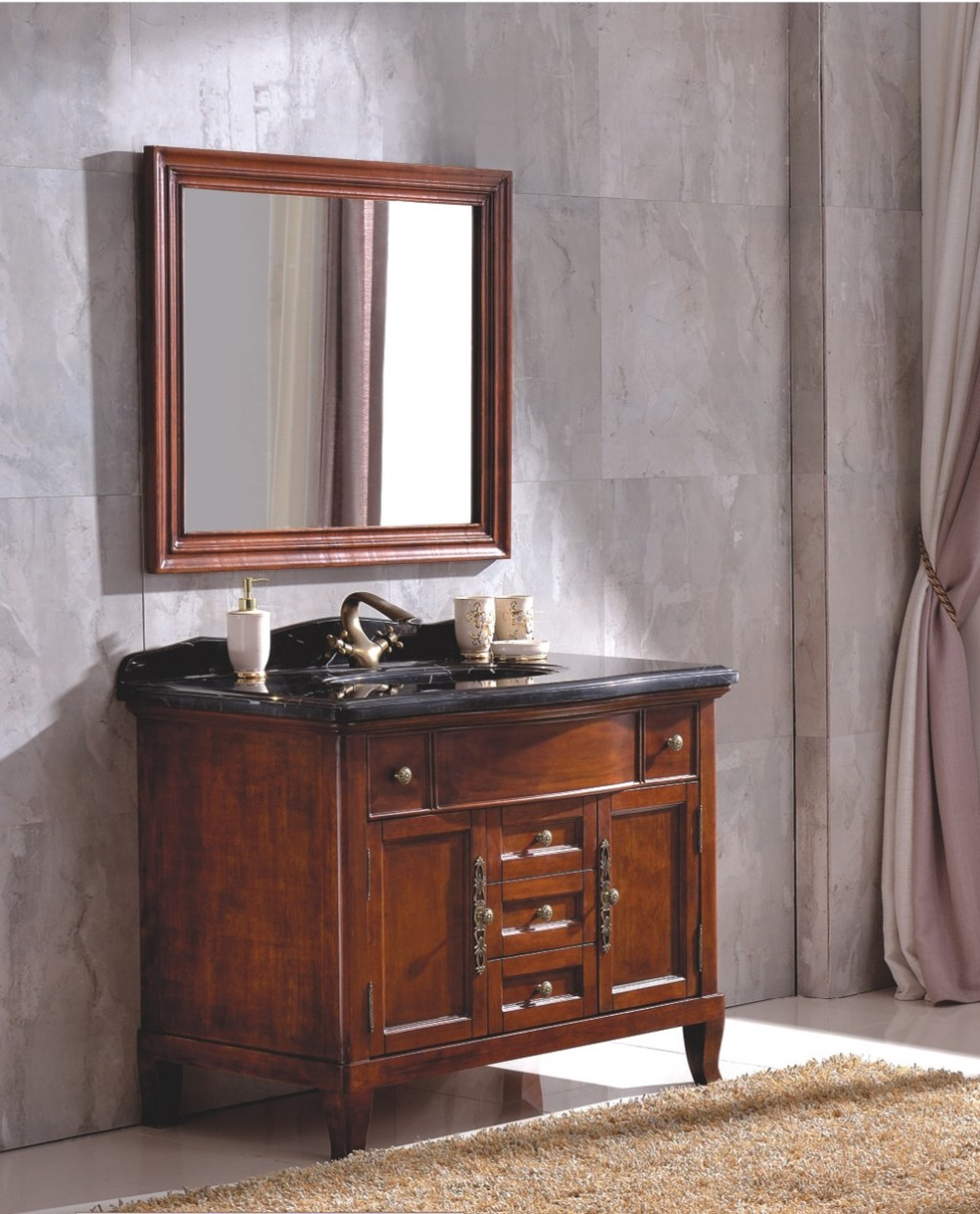 Antique Style Rubber Wood Bathroom Cabinet with Ceremic Top 0281-B-6009
