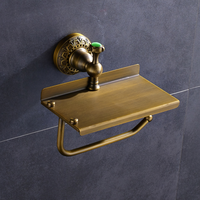Solid Brass Bathroom Toilet Paper Holder Lavatory Phone Holder Antique Brass Wall Mount