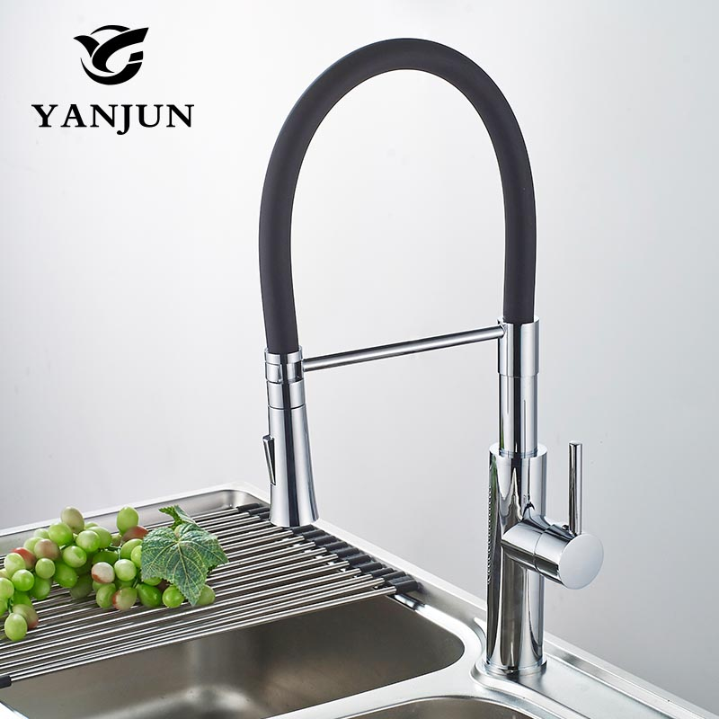 Yanjun Kitchen Faucet Black and Chrome Finish Pull Out Deck Mounted Swivel Mixer Dual Sprayer Nozzle Water Tap YJ-6651