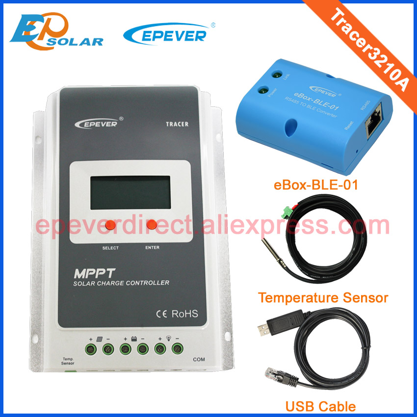 EPsolar MPPT solar controller with BLE function and USB cable Tracer3210A 30A 12V/24V auto work