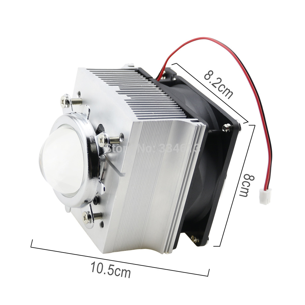 DC12V 0.2A Aluminium Heatsink Cooling Fan + 44mm Lens Reflector 60 Degree For 20W 60W LED Light Chip +Fixed Bracekt