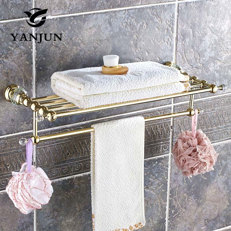 YANJUN High Quality Fashion Brass Cyrstal Golden Towel Racks Towel Holder Bathroom Accessories  For Home YJ-8060
