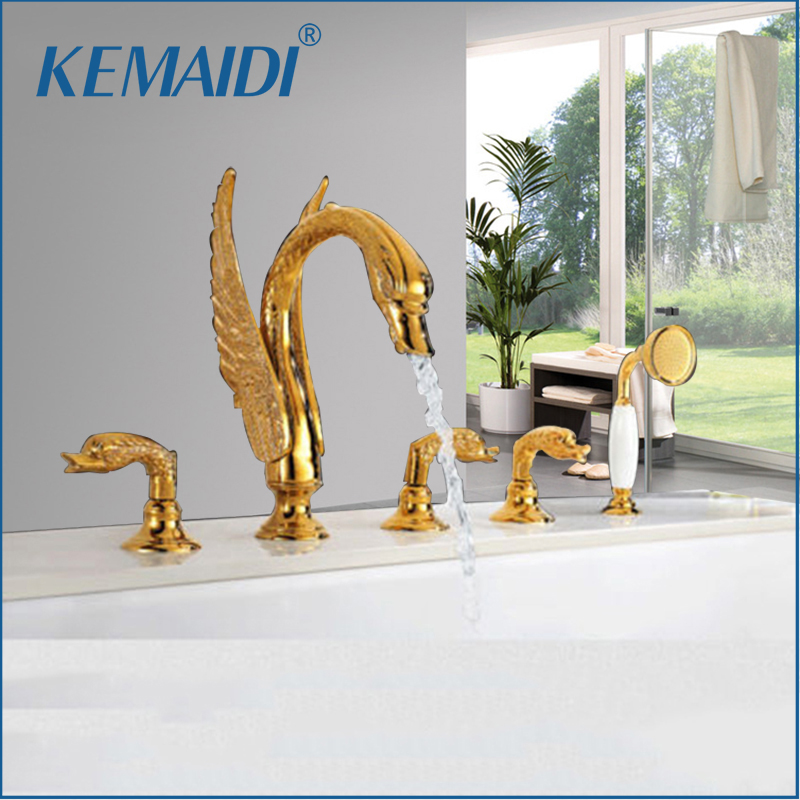 KEMAIDI 5 pcs Basin Faucet Set Newly Luxury Swim Bathtub Faucet Shower Hand Sprayer Plate Gold Plated Bathtub Mixer Cover Mount