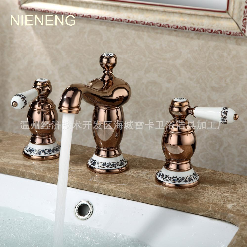 NIENENG mixer retro bathroom faucet three hole vintage 3 holes basin ...