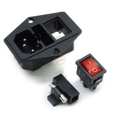 High quality Black Red 10A AC 250V 3 Terminal Power Socket with Fuse Holder Rocker Switch NEW AC Power Cord Inlet Plug Socket