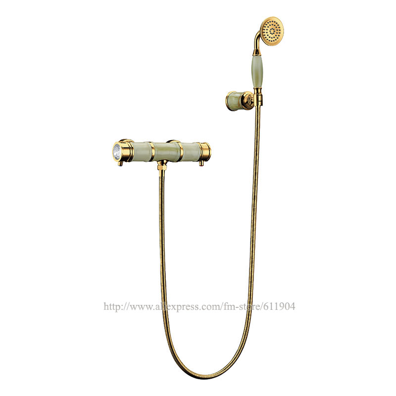Bamboo Stone Bathroom Faucet Mixer Tap 3pcs Wall Mount Shower Concealed shower Head Gold Color Whole Series