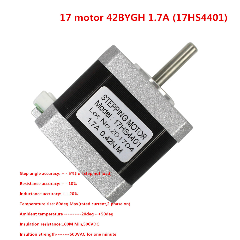 CE Certification 1pcs 4-Lead Nema17 Stepper Motor 42 Motor Nema 17 Motor 42BYGH 1.7A (17HS4401) Motor for CNC XYZ