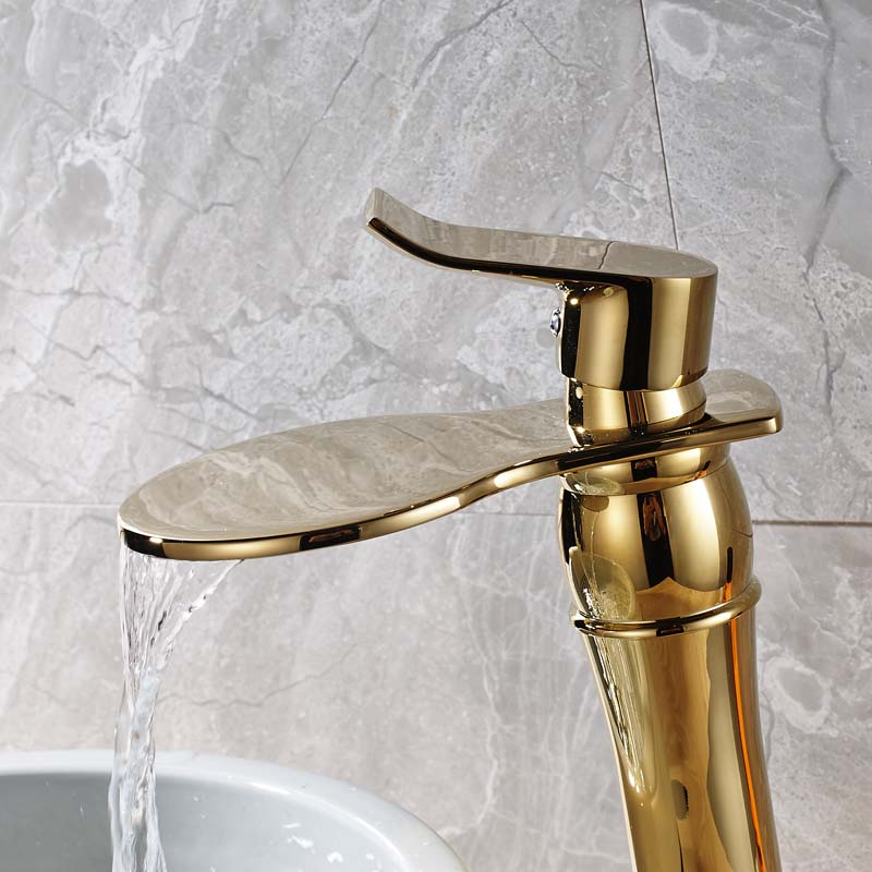 Classic Golden Countertop Basin Faucet One Handle Waterfall Round Water Spout Bathroom Vessel Sink Taps Deck Mounted 1 Hole