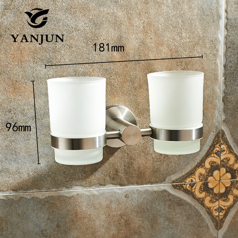 Yanjun 304 Stainless Steel Double  Cup Tumbler Holder Wall Mounted Toothbrush Cup Holder  Bathroom Accessories  YJ-7565
