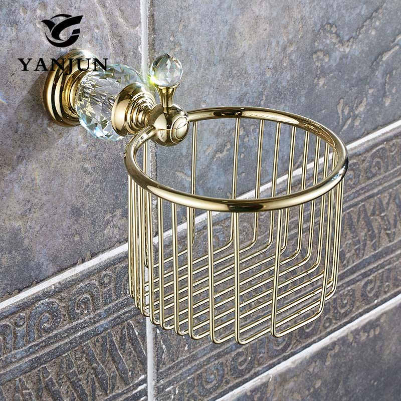 Yanjun Crystal Golden European Style Brass Toilet Paper Holder Toilet Roll Holder Wall-Mounted Bathroom Accessories YJ-8056