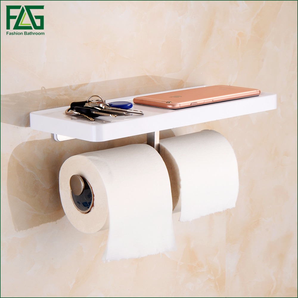 FLG Wall Mounted Toilet Paper Holder with White ABS Shelf & Stainless Steel Double Rolls Paper Holder Bathroom Accessories 1101