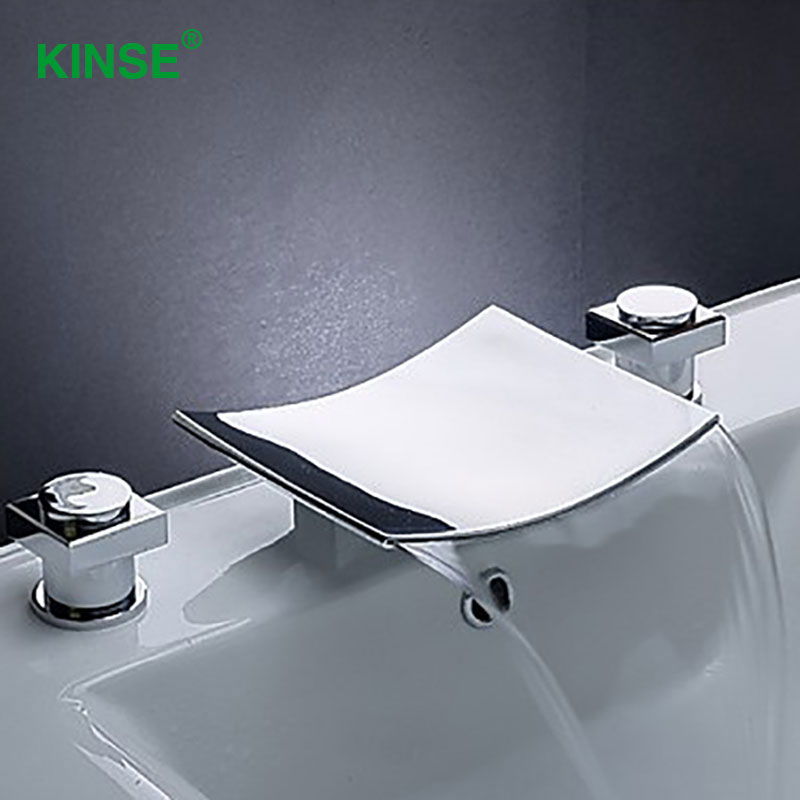 KINSE Contemporary Chrome Finish Dual Holder Dual Hole Sink Faucet Cold and Hot Basin Faucet for Bathroom