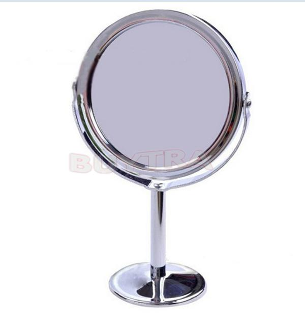 Make Up Mirrors Stainless Steel Holder Cosmetic Bathroom Double-Sided Desk Makeup Mirror Dia 8cm Women Home Office Use