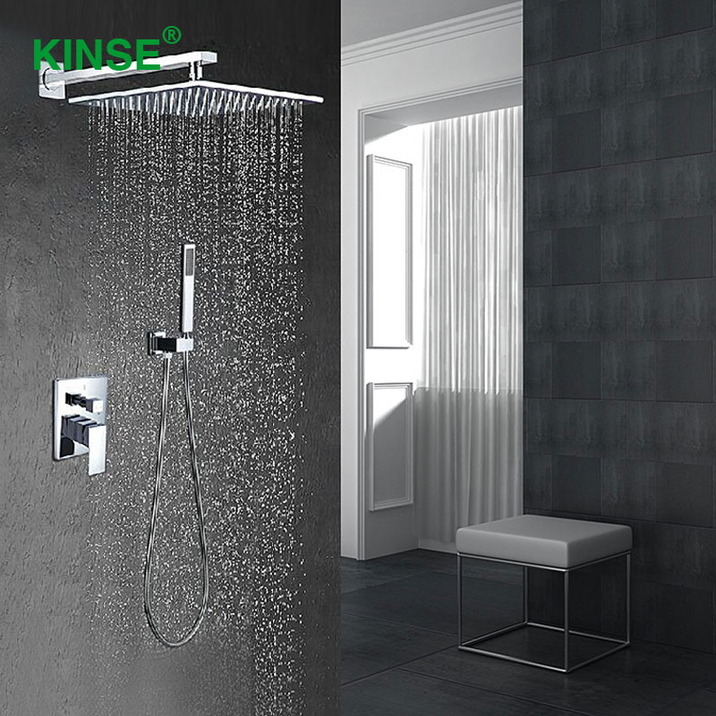 KINSE Hot and Cold Brass Material Bathroom Mixer Shower Faucet Set Durable Rainfall Square Shower