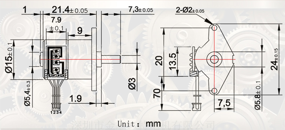 GM12-15BY Mini Stepping Motor And Reduction Ratio 1: 50