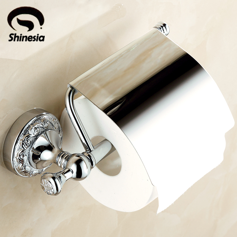 Solid Brass Chrome Polished Bathroom Toilet Paper Holder Bathroom Accessories Lavatory Paper Holder Wall Mount