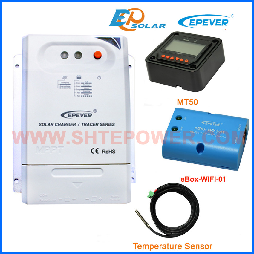20A MPPT charge controllers solar panels with MT50 remote meter BLE box and USB cable Tracer 2210CN