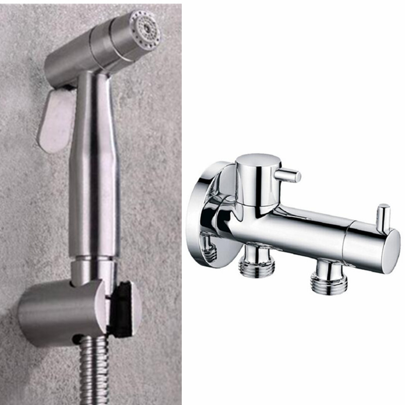 2 Function 304 Stainless Steel Toilet Hand held Bidet Spray Bathroom Shattaf Sprayer Jet Douche kit & Diverter & Hose BD564