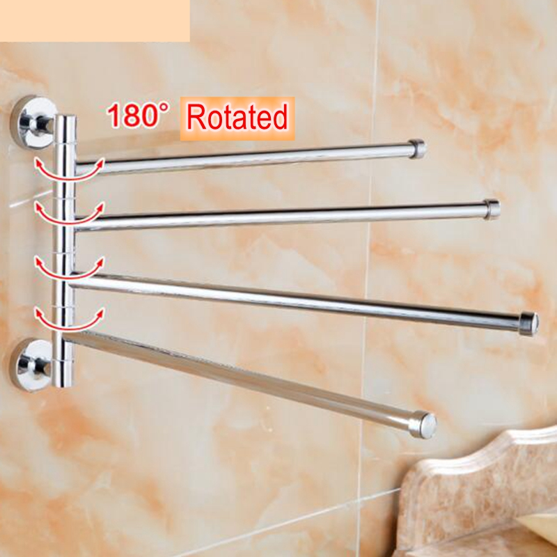 Stainless Steel Towel Bar with 4 Folding Swing Arm Bathroom accessories Storage Organizer Wall Mount Hanger Swivel towel rack