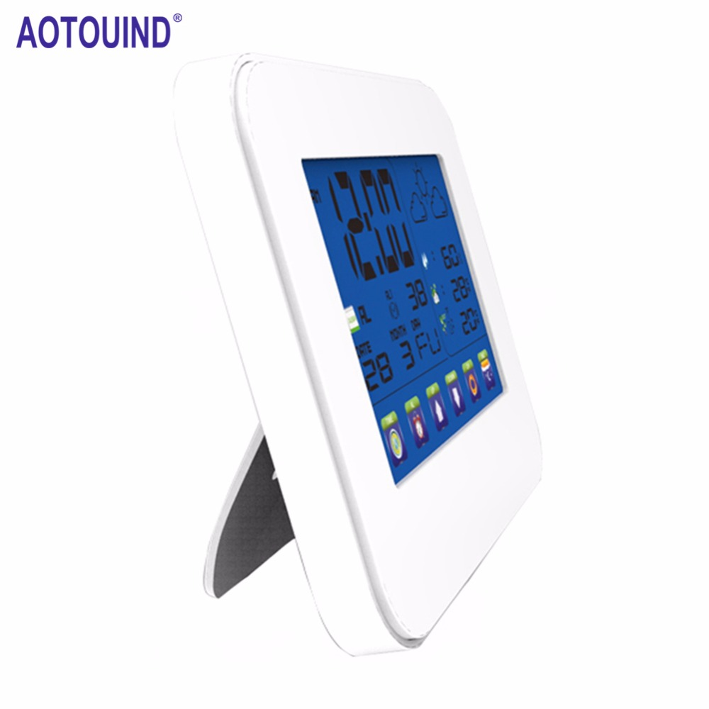 AOTOUIND Backyard Wireless Weather Station Clock with RF Outdoor Temperature Weather forecast