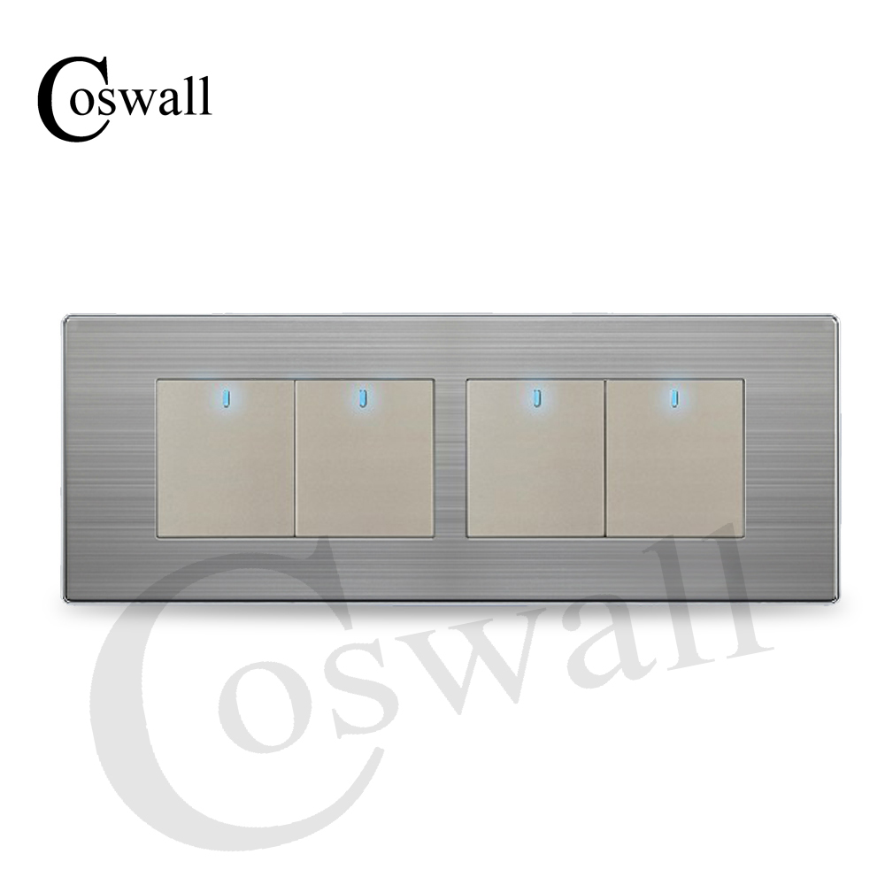 COSWALL 4 Gang 2 Way Luxury Light Switch Push Button Wall Interruptor With LED Indicator Stainless Steel Panel 197* 72mm