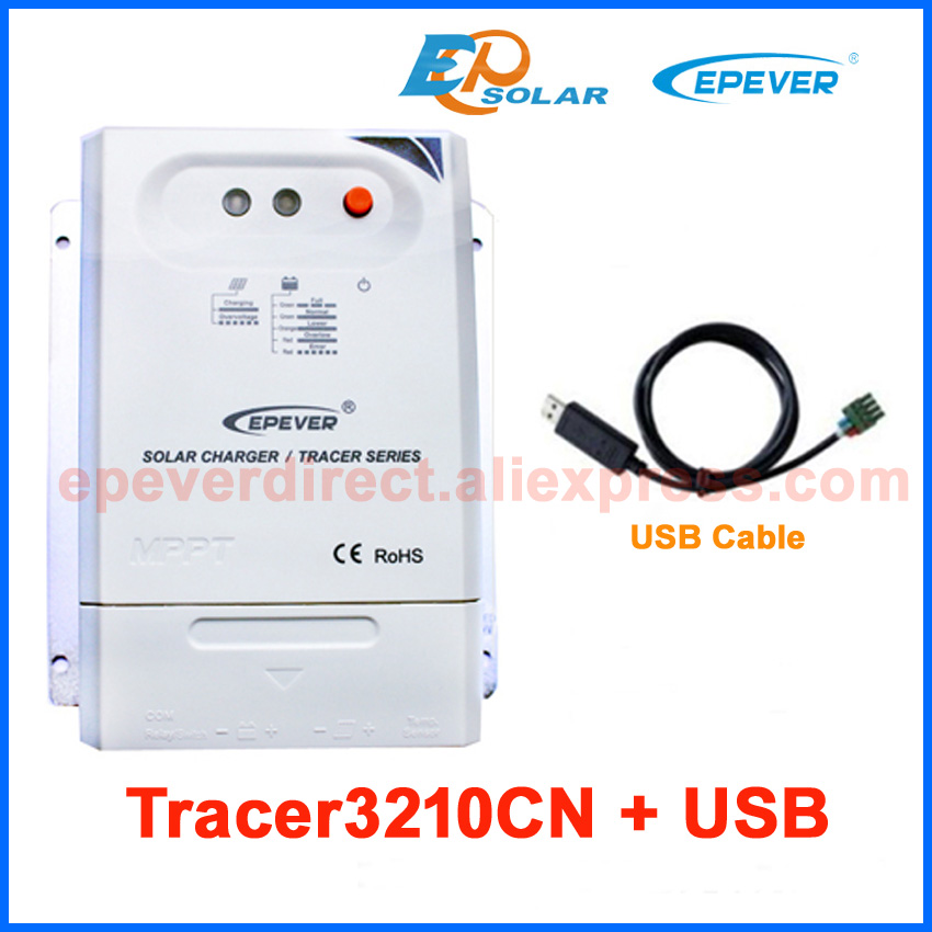 EPsolar MPPT Tracer3210CN 30A panel charge controller USB cable for computer use+temperature sensor 12V/24V auto type