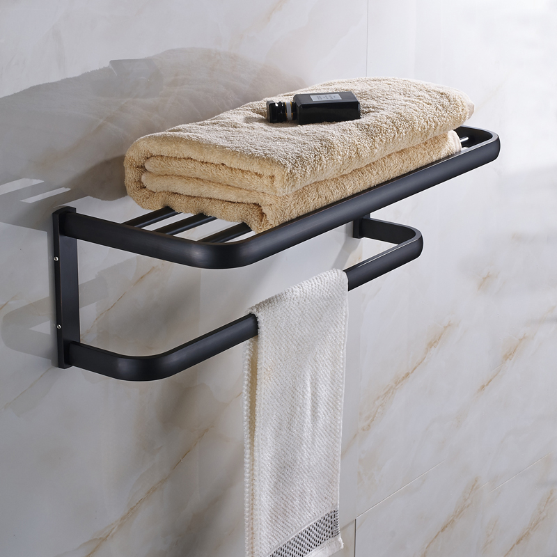 Oil Rubbed Bronze Bathrrom Dual Towel bar Towel Hanger Soild Brass Wall Mount