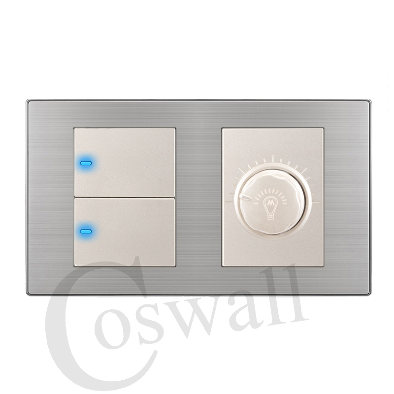 Coswall Manufacturer 2 Gang 1 Way Luxury LED Light Switch Push Button Wall Switch With Dimmer Stainless Steel Panel 160mm*86mm