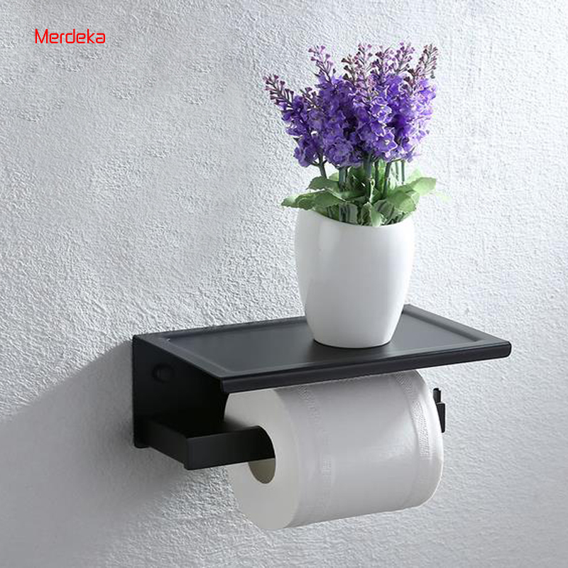 Black Paper Holder Bathroom Tissue Roller With Counter Tissue Rack Stainless Steel For Moible Holder Without Flower