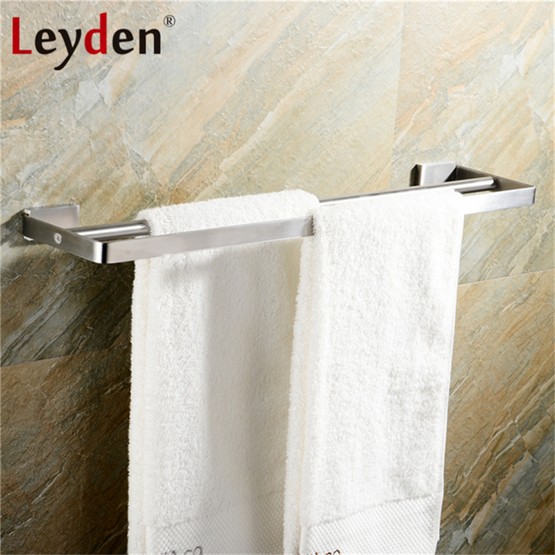 Leyden Double Square Towel Bar Holder Wall Mount Stainless Steel