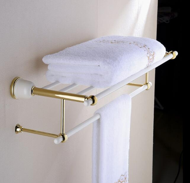 fashion wall mount gold and lacquered white  Bathroom Accessories hotel towel rack towel shelves,towel ring and paper holder