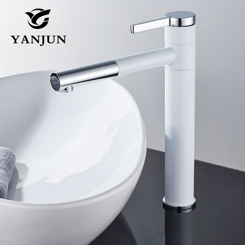 Yanjun Tall Swivel Spout Brass White and Chrome Finish Bathroom Faucet Vanity Vessel Sinks Mixer Cold And Hot Water Tap YJ-6679