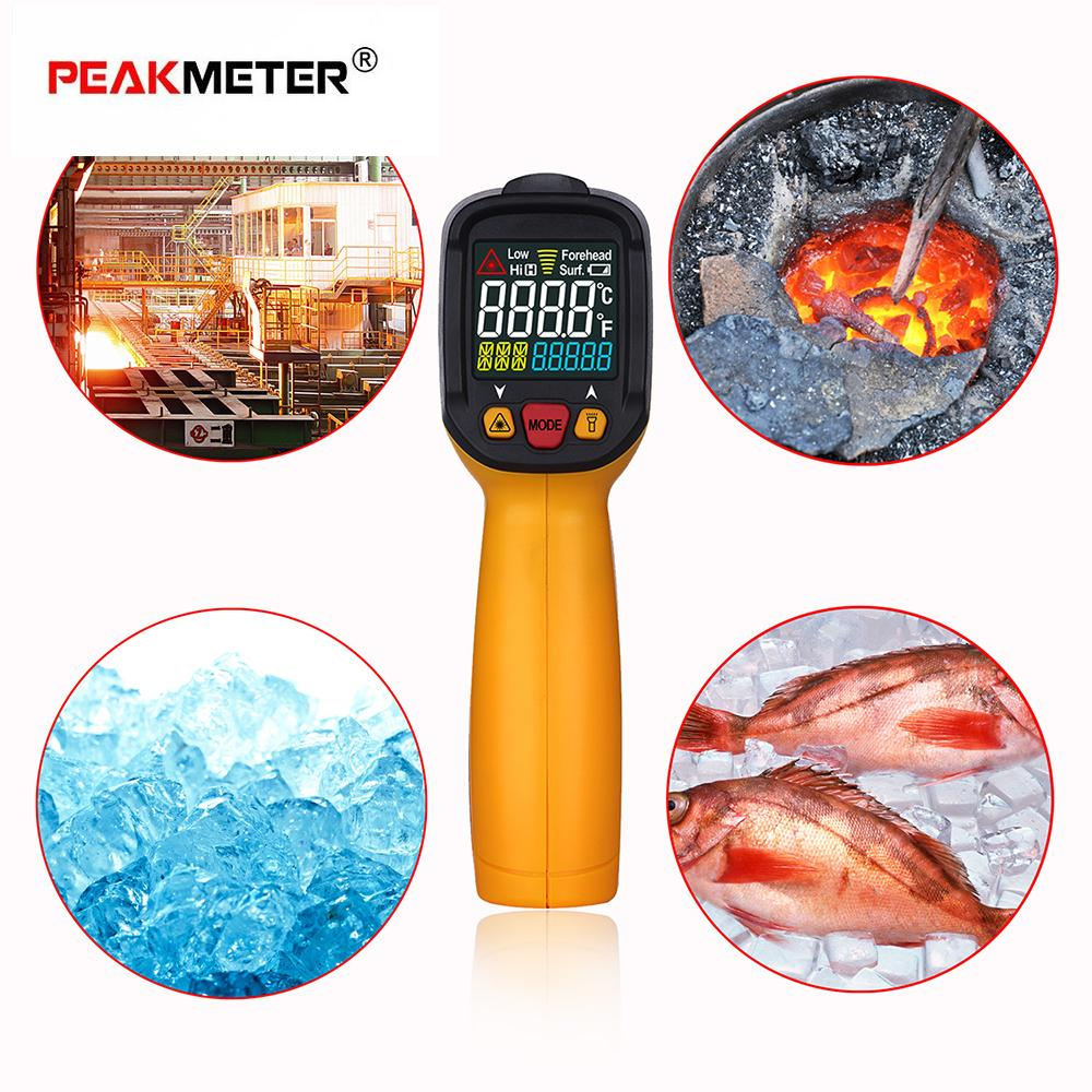 PEAKMETER Digital LCD Non-contact IR Infrared Thermometer Ambient Temperature Humidity Dew Point Tester K Type Thermocouple