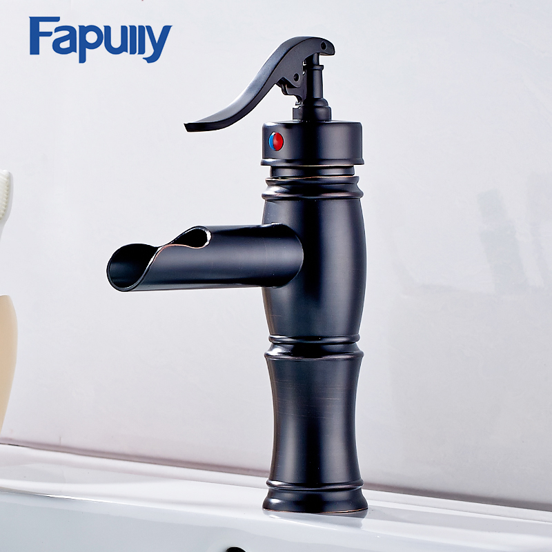 Fapully Bathroom Basin Mixer Taps Oil Rubbed Bronze Single Hole Cold and Hot Waterfall faucets