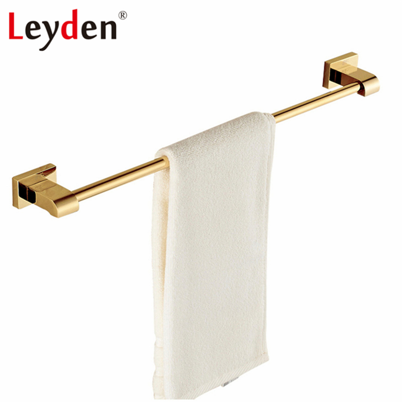 Leyden Towel Bar Holder Luxury Golden/ Chrome Single Square Base Wall Mounted Brass Modern Towel Hanger Bathroom Accessories