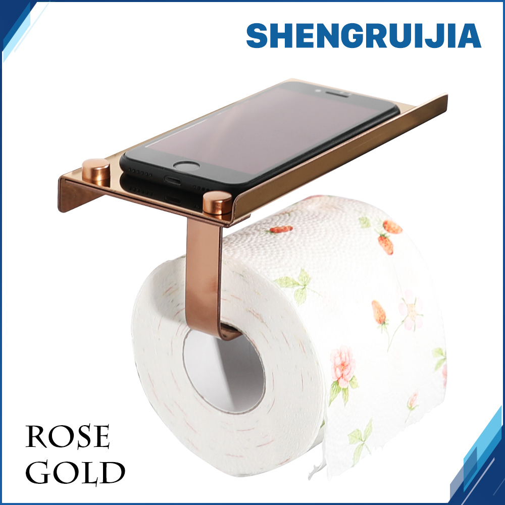 Newly Free Delivery Stainless Steel Toilet Paper Rack with Phone Shelf  Bathroom roll paper holder 5 Color  holder toilet paper