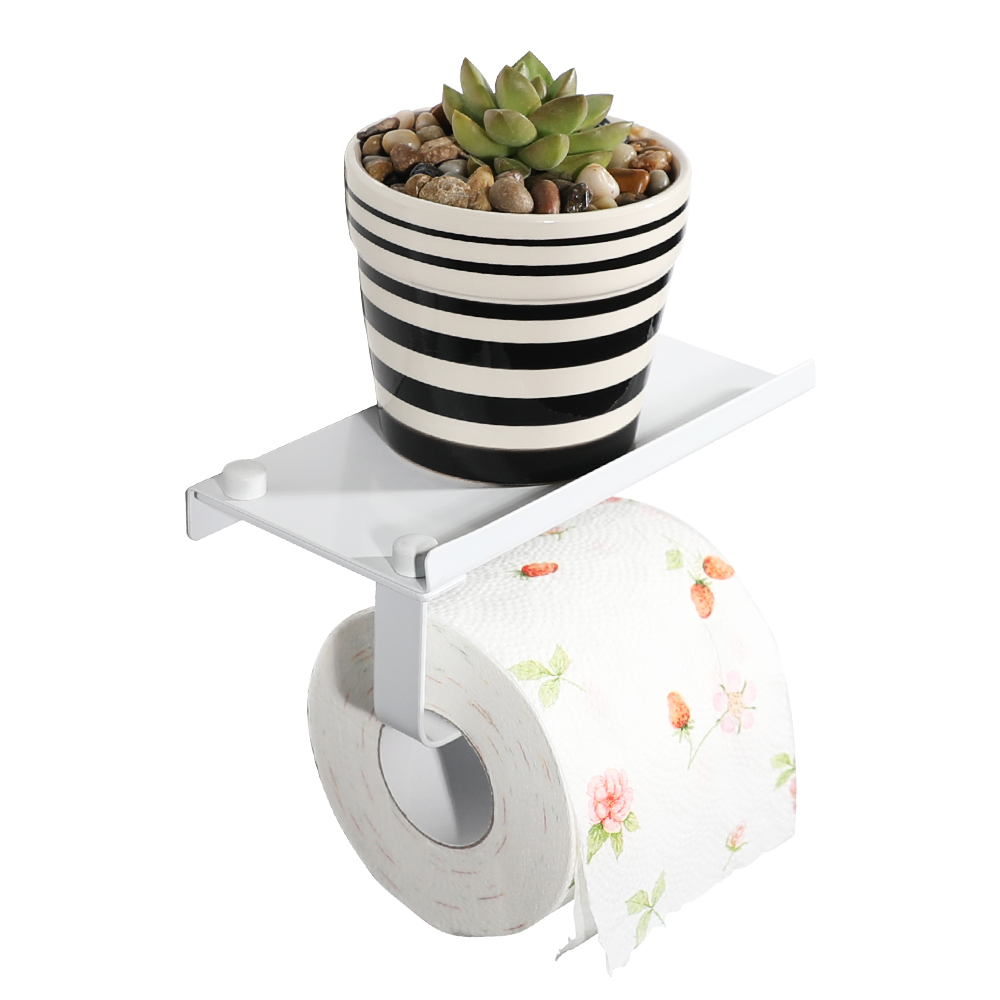 SHENGRUIJIA white stainless steel paper holder with Shelf Bathroom roll paper holer Toilet Paper Holder for phone wallet etc
