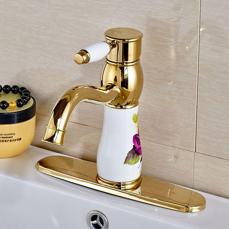 Fashion Style Basin Bathroom Faucet Deck Mounted with 6 Inch Hole Cover Plate Water Tap Golden Color