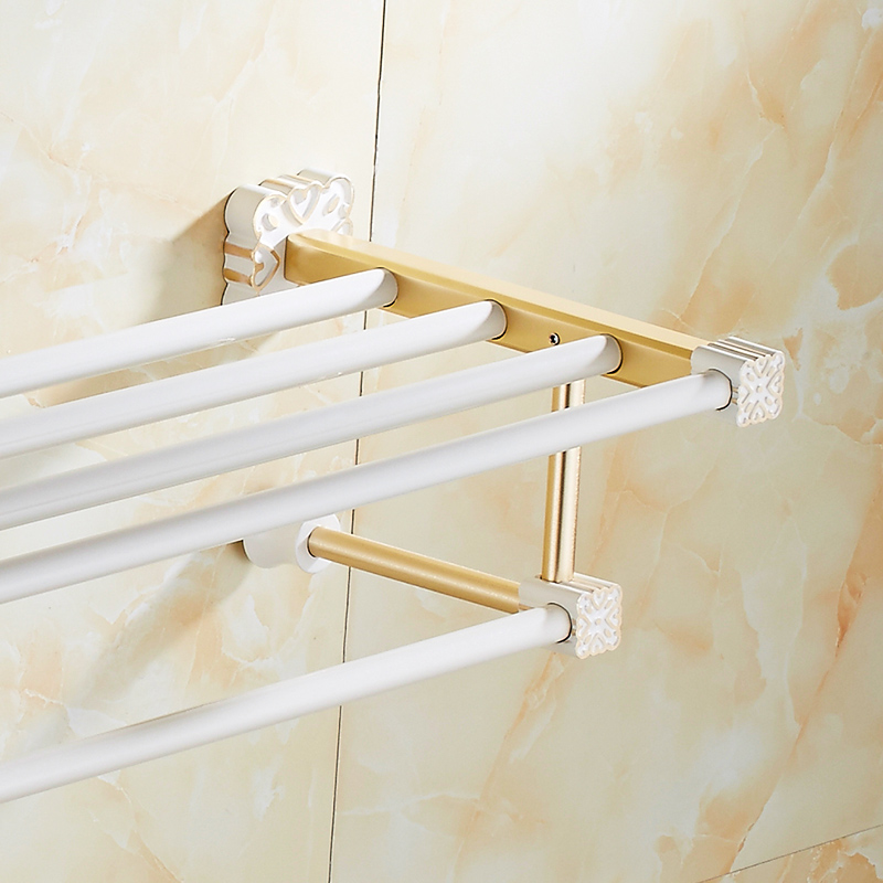 FLG Towel Rack Luxury Bathroom Accessories Wall Mounted White Painting & Golden Finish Towel Shelf With Towel Bar