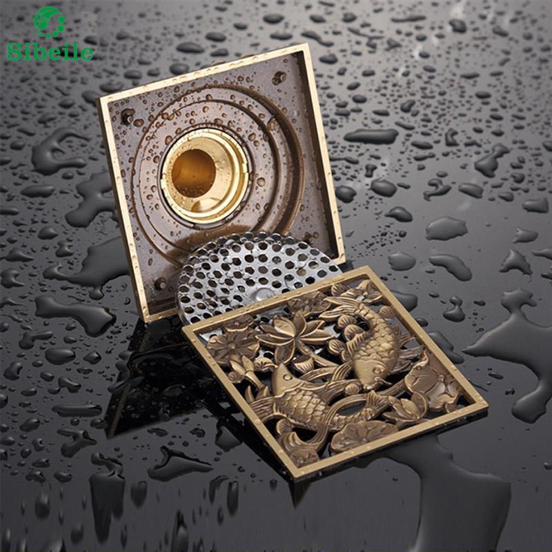 Oil Rubbed Bronze Fish Shower Floor Drain Bathroom Square Waste Drain Strainer