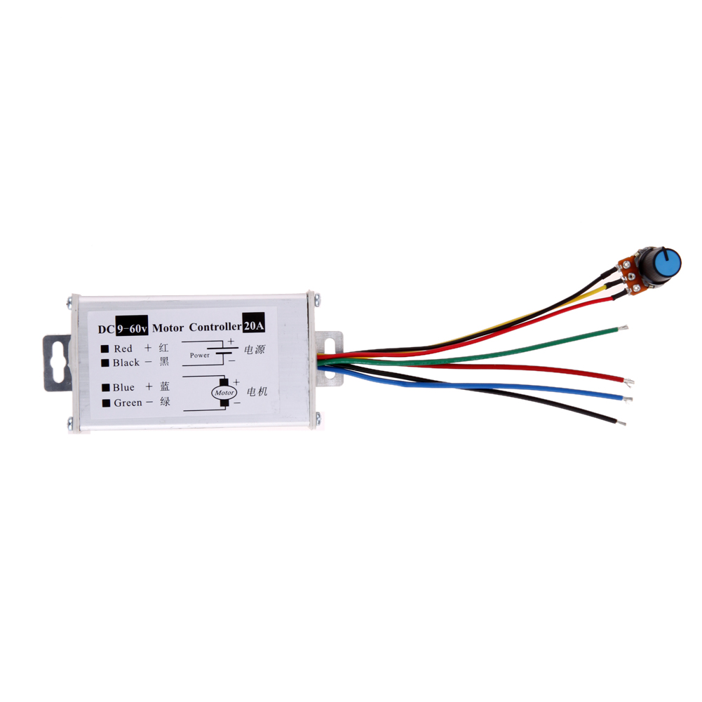 Pwm Dc 9-60v 20a 1200w 25khz Motor Speed Controller Speed Regulator Switch Digital Cables
